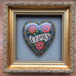 hand painted framed heart