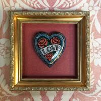 hand painted framed heart